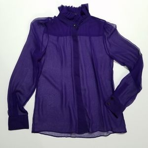 Alice + Olivia sheer purple ruffle neck blouse